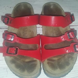 Birki's by Birkenstock red patent leather sandals